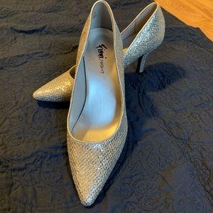Super sparkle silver low stiletto shoes